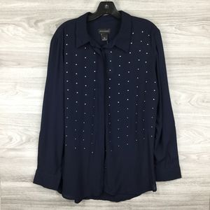 Investments Navy Metallic Dot Button Up